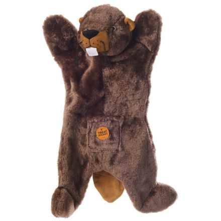 Aussie Naturals Biggie Beaver Dog Toy - Squeaker, Stuffing Free in Brown - Closeouts