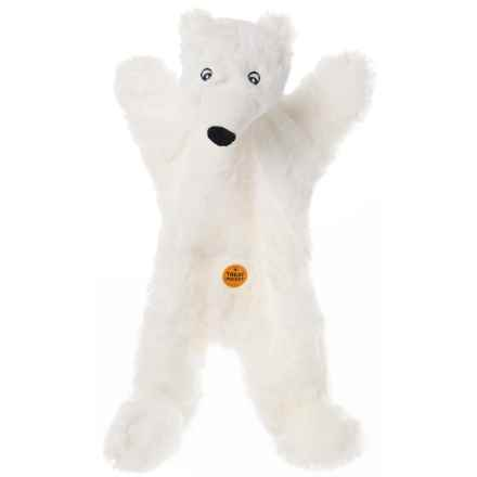 Aussie Naturals Biggie Polar Bear Dog Toy - Squeaker, Stuffing Free in White - Closeouts