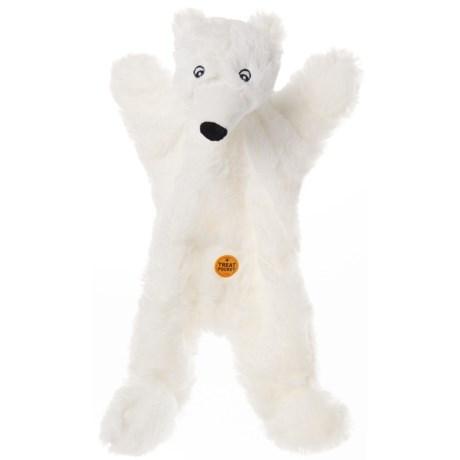 Aussie Naturals Biggie Polar Bear Dog Toy - Squeaker, Stuffing Free in White