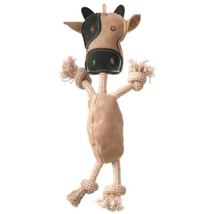 Aussie Naturals Outback Jack Wiggly Cow Dog Toy - Large in Tan/Grey - Closeouts