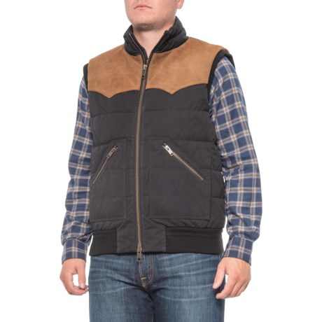 Austin Quilted Leather and Wool Vest - Insulated (For Men) - BLACK (S )