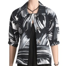 Austin Reed Black Label Linen Jacket - Brushstroke (For Women) in White/Black - Closeouts