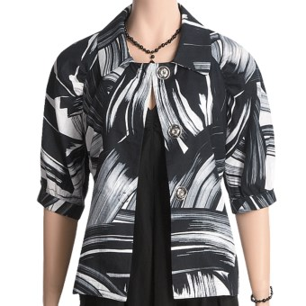 Austin Reed Black Label Linen Jacket - Brushstroke (For Women) in White/Black