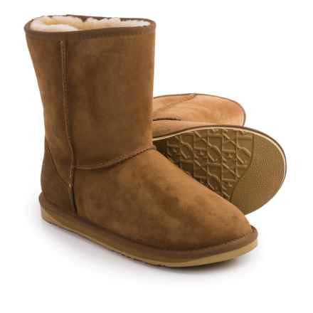 Australia Luxe Collective Cosy Short Boots - Suede, Sheepskin Lined (For Men) in Chestnut - Closeouts