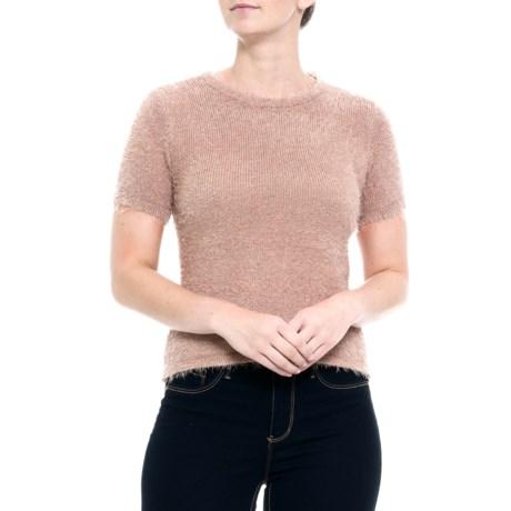Image of Australian Designer Fluffy Crop Sweater - Short Sleeve (For Women)