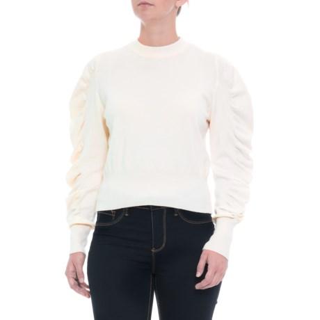 Image of Australian Designer Puffy Sleeve Knit Shirt - Mock Neck, Long Sleeve (For Women)