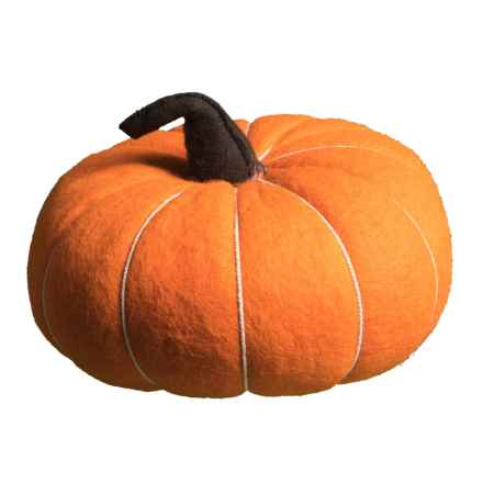 "Autumn Blessings Boiled Wool Pumpkin - 9"" in Orange - Closeouts"