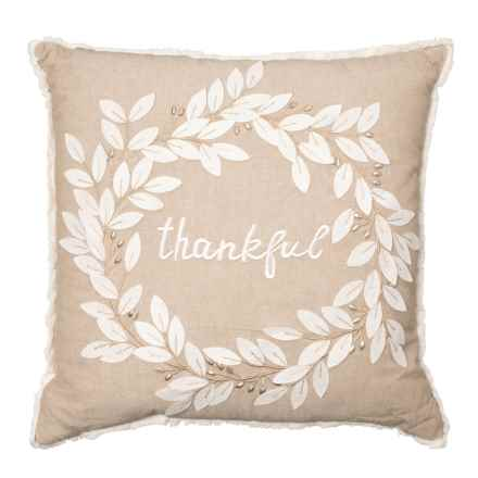 "Autumn Hill Traditional Harvest Thankful Throw Pillow - 20x20"" in Beige/White - Closeouts"