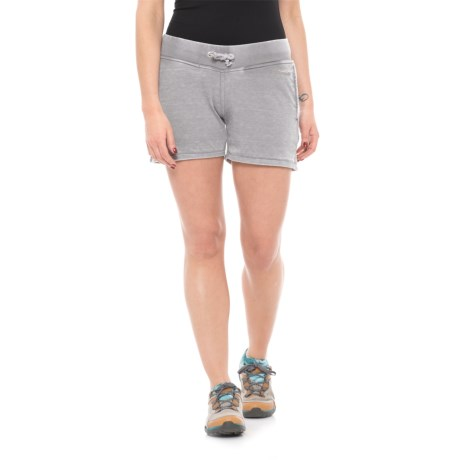 """Avalanche Bandera French Terry Burnout Shorts - 4"""" (For Women) in Tornado"""
