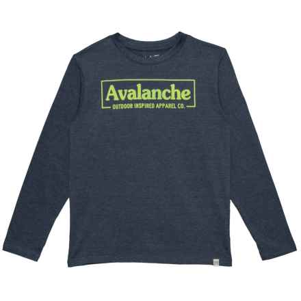 Avalanche Branded T-Shirt - Long Sleeve (For Big Boys) in Dark Denim Heather - Closeouts