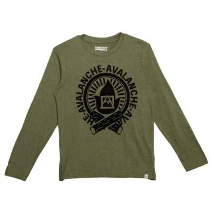 Avalanche Fire Graphic T-Shirt - Long Sleeve (For Big Boys) in Fatigue Heather - Closeouts