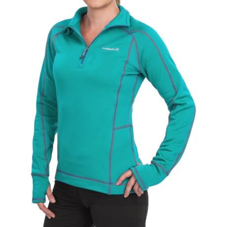 Avalanche Fleece Mogul Shirt - Zip Neck, Long Sleeve (For Women) in Bright Teal/Batik Blue