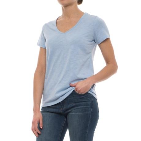 Avalanche Marisol Slub V-Neck T-Shirt - Short Sleeve (For Women) in Chambray Blue
