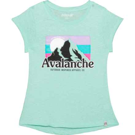 Avalanche Mountain Peak Branded T-Shirt - Short Sleeve (For Big Girls) in Mint Leaf - Closeouts