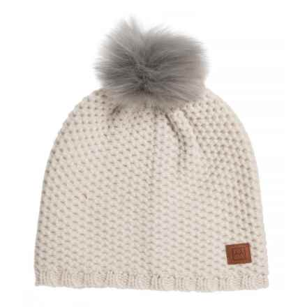 Avalanche Pattern Knit Pompom Beanie (For Women) in Cream - Closeouts