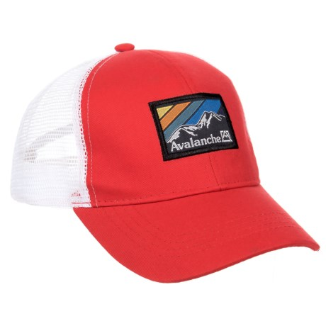 Avalanche Red Woven Label Patch Uncle Trucker Hat (For Boys) in Red