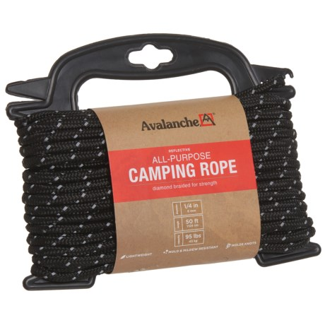 "Avalanche Reflective All-Purpose Camping Rope - 1/4""x50' in Black"