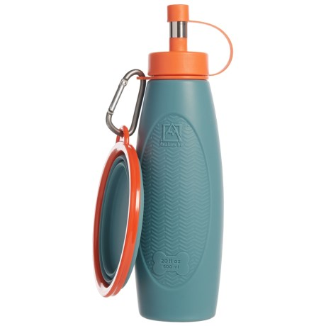 Avalanche Silicone Travel Bowl and Water Bottle Set - BPA-Free in Grey/Blue
