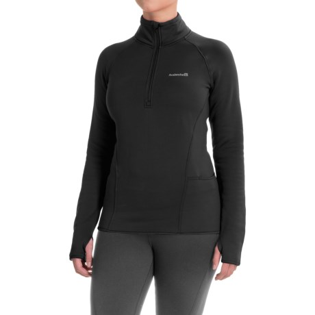 Avalanche Slalom Fleece Shirt - Zip Neck, Long Sleeve (For Women) in Black