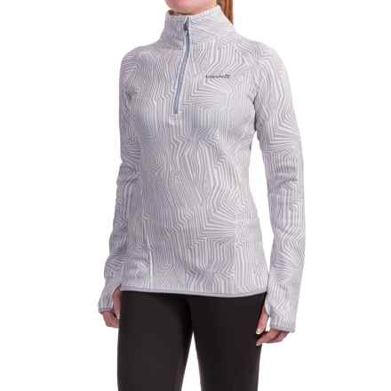 Avalanche Slalom Printed Fleece Shirt - Zip Neck, Long Sleeve (For Women) in White/Arctic Ice - Closeouts
