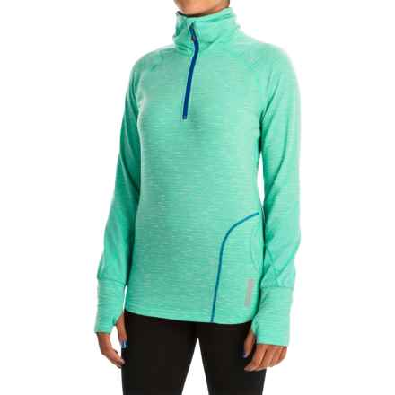 Avalanche Wear Hype Shirt - Zip Neck, Long Sleeve (For Women) in Bright Teal/White Melange/Batik Blue - Closeouts
