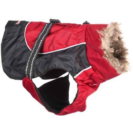 Avalanche Winter Dog Jacket - Faux-Fur Trim in Red - Closeouts