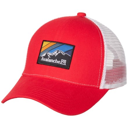 5dbabbb99c3e2 Avalanche Woven Label Patch Trucker Hat (For Men) in Red - Closeouts
