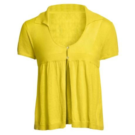 Avalin Collar Cardigan Sweater - Short Sleeve (For Women) in Sun