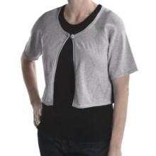 Avalin Cotton Cardigan Sweater - Shrug-Style, Short Sleeve (For Women) in Grey - Closeouts