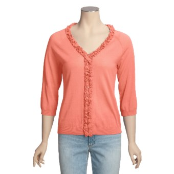 Avalin Cotton Cardigan Sweater - V-Neck, Ruffles (For Women) in Peach