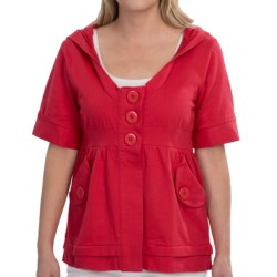 Avalin Cotton French Terry Knit Shirt - 2-Pocket, Hooded, Short Sleeve (For Women) in Red