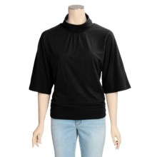 Avalin Cowl Neck Shirt - Stretch Cotton, 3/4 Sleeve (For Women) in Black - Closeouts