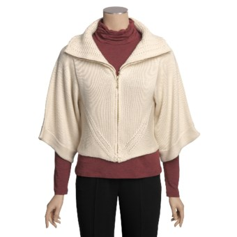Avalin Cropped Cardigan Sweater - Zip, 3/4 Sleeve (For Women) in Natural