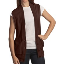Avalin Deep V-Neck Cardigan Sweater - Cotton-Cashmere, Sleeveless (For Women) in Chocolate - Closeouts
