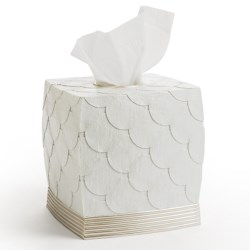 Avanti Linens Flutter Dots Collection Tissue Box Cover in White