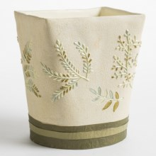 Avanti Linens Greenwood Collection Waste Basket in Ivory - Closeouts