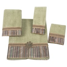 Avanti Linens Medallion Stripe Towel Set - 4 Piece in Sage - Closeouts