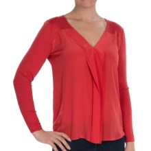 Avec Silk Cascade V-Neck Sweater (For Women) in Paris Poppy - Closeouts