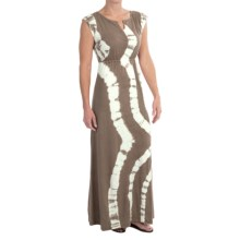 Aventura Clothing Charlize Maxi Dress - Organic Cotton-Modal, Tie-Dye, Short Sleeve (For Women) in Dusty Olive - Closeouts