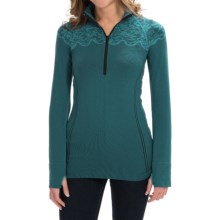 Aventura Clothing Floral Pullover Shirt - Zip Neck, Long Sleeve (For Women) in Ocean Depths - Closeouts