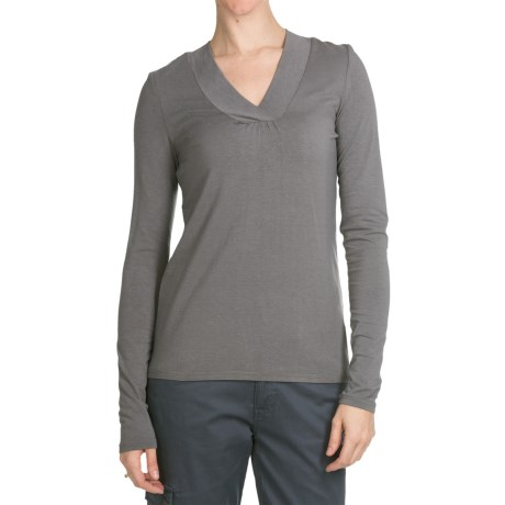 Aventura Clothing Glenora Shirt - V-Neck, Long Sleeve (For Women) in Pewter