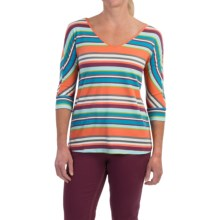 Aventura Clothing Letty Shirt - Organic Cotton, V-Neck, 3/4 Sleeve (For Women) in Flamingo - Closeouts