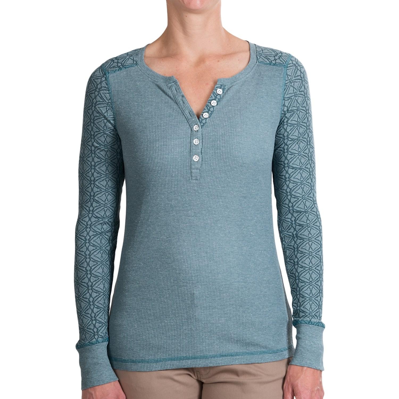 Aventura clothing liberty thermal henley shirt for women for Thermal shirt for women
