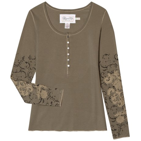 Aventura Clothing Milena Henley Shirt - Organic Cotton, Long Sleeve (For Women) in Dusky Green