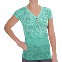 Aventura Clothing Naomi Henley Shirt - Short Sleeve (For Women) in Sea Blue - Closeouts