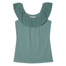 Aventura Clothing Nova Tank Top - Organic Cotton Stretch, Ruffled Neck (For Women) in Dusty Turquoise - Closeouts