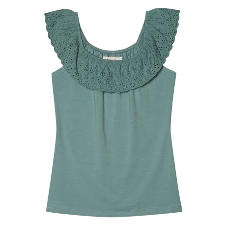 Aventura Clothing Nova Tank Top - Organic Cotton Stretch, Ruffled Neck (For Women) in Dusty Turquoise
