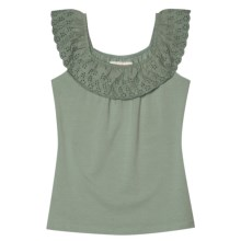 Aventura Clothing Nova Tank Top - Organic Cotton Stretch, Ruffled Neck (For Women) in Iceburg Green - Closeouts
