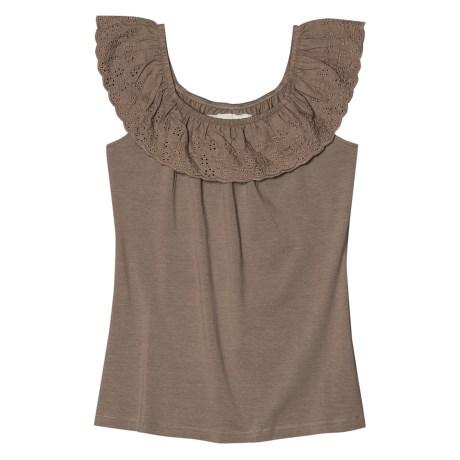 Aventura Clothing Nova Tank Top - Organic Cotton Stretch, Ruffled Neck (For Women) in Taupe