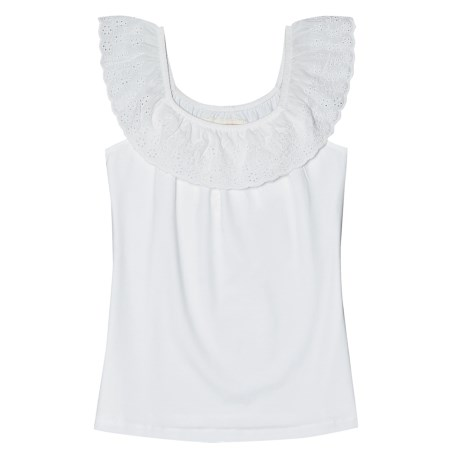 Aventura Clothing Nova Tank Top - Organic Cotton Stretch, Ruffled Neck (For Women) in White
